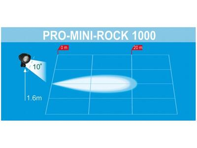 LED arbejdslygte PRO-MINI-ROCK 1000 kabel 0,2m + AMP SUPER SEAL stik 12V-36V